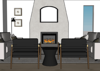 10714 71 Ave Living Room Fireplace
